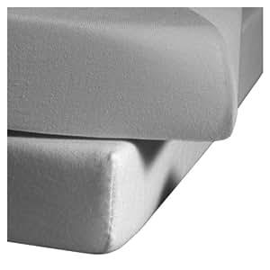 fleuresse 1115-9021 Drap-housse infroissable Jersey 100% coton Grau 100 x 200 cm