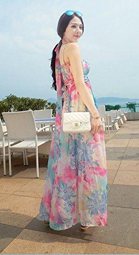 Blansdi Bandeau Fleur Robe Mi-longue - Rose à fleurs Imprimé Coton 3 en 1 Dos Nu ou Sans bretelle Robe Été/Jupe Longue Diverses Floral Styles Rose