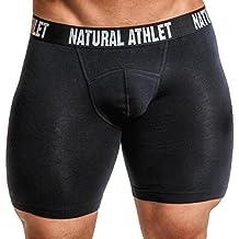 Natural Athlet Herren Unterwäsche Boxershort - hochwertig, eng & lang - schwarz & Größe S, M, L & XL - mit Gummibund - Ideal für Sport, Fitness & Gym - Boxer Männer