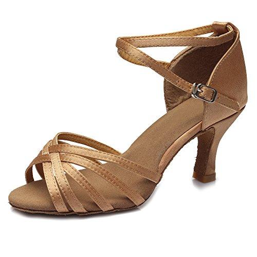 SWDZM Mujer Zapatos de baile/estándar de Zapatos de baile latino Satén Ballroom modelo-ES-213 Beige 39 EU