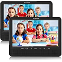 WONNIE 10.1'' Dual Screen Portable DVD Player for Car with Built-in 5 Hours Rechargeable Battery, Twin Screen for Kids Support USB&SD Slot (1 Host DVD Player+ 1 Slave Monitor)