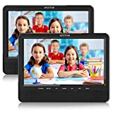 WONNIE 10.1'' Dual Screen Portable DVD Player for Car with Built-in 5 Hours