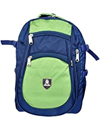 KTX Blue & Green Synthetic Coated Cloth School Backpack (35 LTR) - Middle & High School
