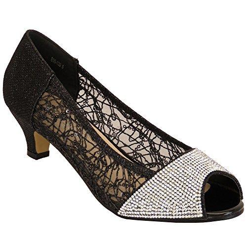 Femmes Kelsi Sandales Chaussures Pour Femmes Diamant Strass Pailette Maille Bout Ouvert Talon Moyen Noir - E00132