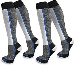 4 Paar Spezial Ski Thermo Kniestrümpfe mit Thermolite Fasern und Elasthan Farbe Blau gestreift Größe 35/38