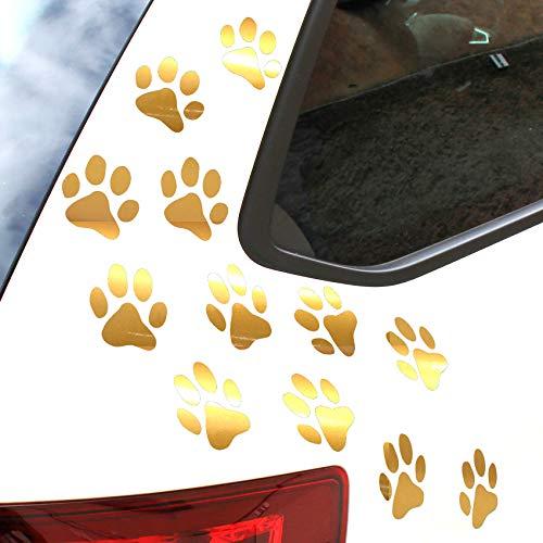Finest Folia 12er Set Hundepfoten je 6x6 cm Pfoten Pfötchen Hund Katze Aufkleber Sticker für Auto Motorrad Wand Laptop Möbel (K015 Gold)