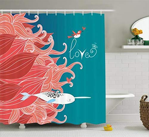 BUZRL Narwhal Shower Curtain by, Love Themed Sketch Illustration with Arctic Whale Valentine's Arrangement, Cloth Fabric Bathroom Decor Set with Hooks, 60W X 72L Inches Extra Long, Teal Coral White