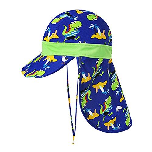 Kinder Sonnenmütze Mädchen Jungen Sommer Hut Kappe UV Schutz Dinosaurier Druck Strandhut Caps UPF 50+ (A, Onesize)
