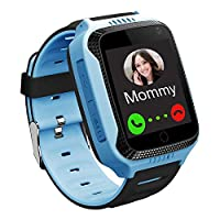 Kids GPS Smart Watch - Boys Girls Smartwatch GPS Tracker with Step Counter Geo Fence SOS Flashlight Camera Voice Chat Math Game Holiday Birthday Watch Gifts Compatible with iOS Android (M11-Blue)