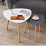 Mtank Nesting Coffee End Tables Modern Decor Side Table for Home and Office (White, Set of 2) (White+Grey)