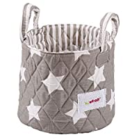 Minene Small Grey & White Stars Fabric Storage Basket Organiser with Handles 18x22cm