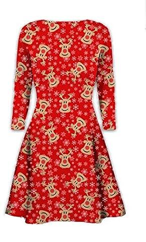 Neuer Frauen-Minikleider Weihnachtsbäume Weihnachten Sankt-Schneemann -Ren-Rudolph-Geschenk-Bell-Geschenk Damen Swing-Ober (M/L 40-42, Rudolph face & Snowflakes all over, Red)