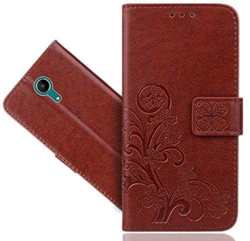 Wiko Tommy 2 Handy Tasche, FoneExpert® Wallet Case Cover Flower Hüllen Etui Hülle Ledertasche Lederhülle Schutzhülle Für Wiko Tommy 2