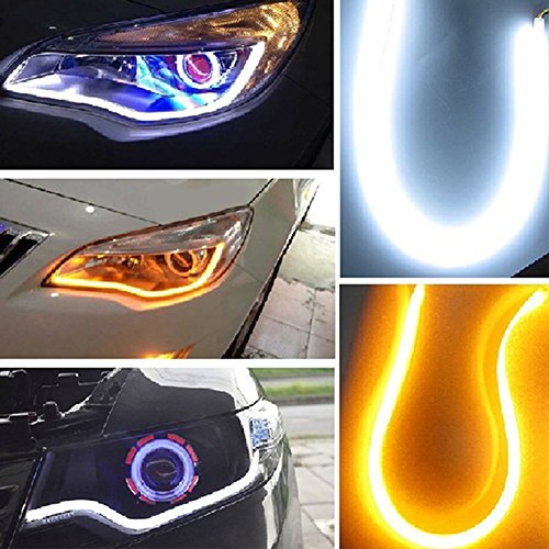 Inlink 2-Pack Dual Color Flexible Car LED Soft Tube Switchback DRL White-Amber Headlight Daytime Running Strip Light with Turn Signal(85cm)