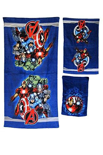 S.L. Home Fashions Hand- und Fingerspitzen-Handtuch-Set, Disney Pixar, 100% Baumwolle, 3 Stück Avengers (Avenger Handtuch-set)