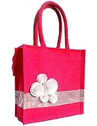 Designer Women's/ Girl's Jute Bag/ Carry Bag/ Travel Bag/ Shopping Bag/ Lunch Bag/ Tiffin Bag/ Hand Bag - Stylish...