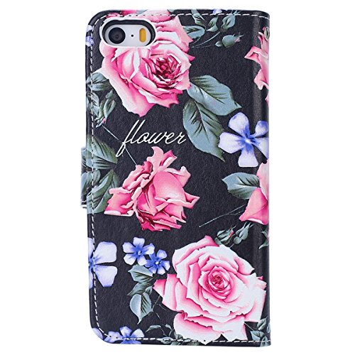 Custodia iPhone 6/iPhone 6s (4.7), EUWLY Flip Cover Leather Wallet Case Custodia per iPhone 6/iPhone 6s (4.7) in PU Pelle, Bling Bling Custodia Cover con Ultra Sottile Interno Silicone TPU Case Prot Fiori Rose