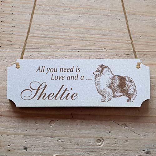 Schild « SHELTIE » 15 x 5 cm - Dekoschild Holzschild Türschild - Hund Haustier -