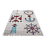 Carpetsale24 Kinder Teppiche für Kinderzimmer, Babyzimmer, Spielteppich Pirat Motiv kariert, Multi Farben Beige Blau Rot Grün Weiss_0510, Maße:120x170 cm