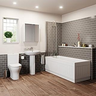 Affine Bathroom Suite Single Ended Bath Close Coupled Toilet Basin Pedestal 1700 White