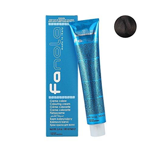 Fanola Tinte 4.14 Café 100 mL - Tinte crema colorante permanente para el cabello pelo - Color uniforme y brillante - PROFESIONAL