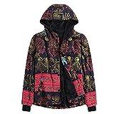 Damen Mäntel Winter Warme Retro Plus Size Mädchen Langarm Kapuzen Steppmantel Vintage Fleece Dicke Mäntel Reißverschluss Mantel Steppjacke Übergröße