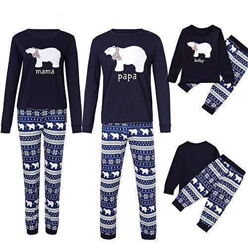 Transwen Weihnachten Festlich Familien Outfit, Mama Daddy Ich Papa Kleine Bär Top + Schneeflocke Hose Familie Set Kleidung Sleepwear Sweater Set (80, Baby)