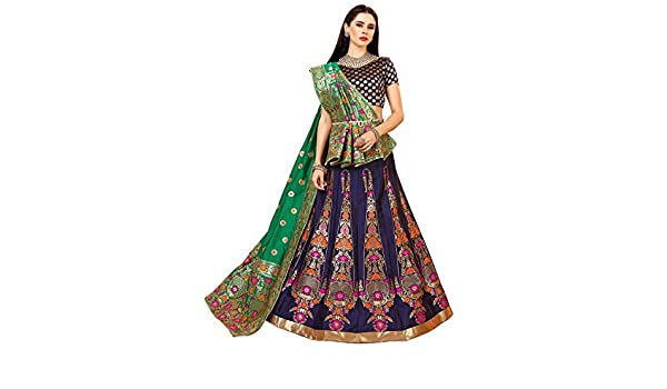 fd2402fd29 Chhabra 555 Purple and Green Woven Design Zari work Embroidered Banarasi  Silk Lehenga Choli and Dupatta: Amazon.in: Clothing & Accessories