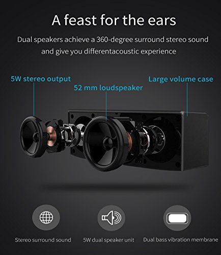 Betron D51 Wireless Speakers Compatible with Bluetooth Smartphones, Mp3 Players, Computers, Laptops
