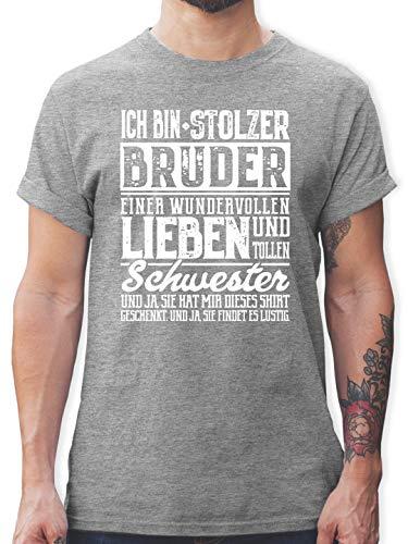 Bruder & Onkel - Ich Bin stolzer Bruder eine tollen und wundervollen Schwester - XL - Grau meliert - L190 - Herren T-Shirt und Männer Tshirt - Kleinkind-t-shirt Klassiker