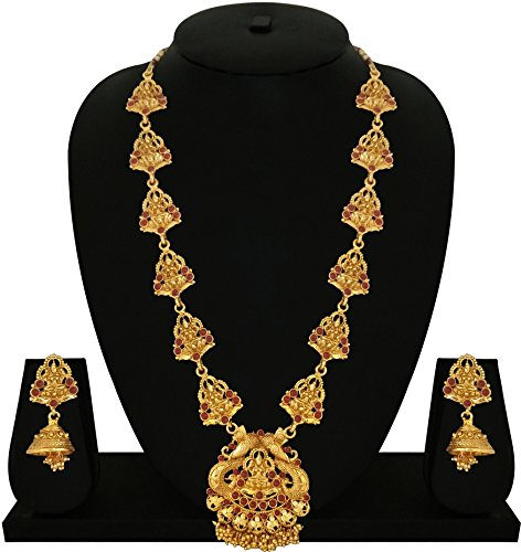 Matushri Art Indian Traditional Temple Jewelry of Laxmi God Necklace Set for Women and Girls