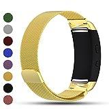 Correa de repuesto iFeeker con cierre magnético, malla milanesa de acero inoxidable para reloj inteligente Samsung Gear Fit2/Gear Fit 2 Pro, color dorado