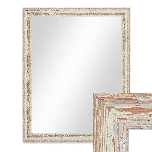 PHOTOLINI Wand-Spiegel 46x56 cm im Holzrahmen Weiss Shabby-Chic Vintage/Spiegelfläche 40x50 cm