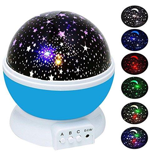 Sternenhimmel Projektor   Sterne Projektor   Nacht Licht Lampe   YIDERN Sternenhimmel Mond romantische rotierenden Projektion [ 4LED Perlen, 3Model Licht ] für Kinder Schlafzimmer (blau)