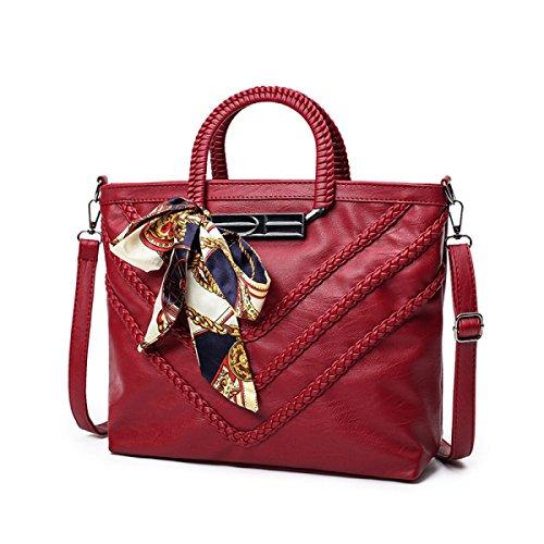 Frau Schultertasche Messenger Bag Handtasche Schal Schaffell-Muster Red