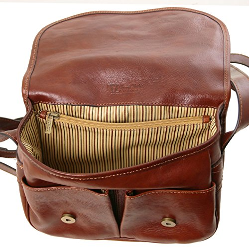 Tuscany Leather Giulia - Borsa a tracolla in pelle con pattella Marrone Borse donna a tracolla Nero
