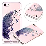 Cover iPhone 7 Silicone TPU Surakey Custodia Trasparente per iPhone 7 / 8 Apple, Elegante Campanula Farfalla Teschio Colorato Morbida Cover iPhone 8 Gel Gomma Silicone Ultra Sottile Case Apple Cellulare Shell Back Casa [Shock-Absorption e Anti-Scratch] Flessibile Protezione Posteriore iPhone 7 Bumper iPhone 8 Custodia per Donna Ragazza immagine