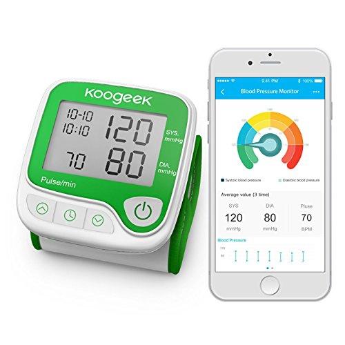 Koogeek Poignet Tensiomètre Intelligent Automatique Tester la Fréquence Cardiaque avec Fonction de Mémoire Piles Fournies