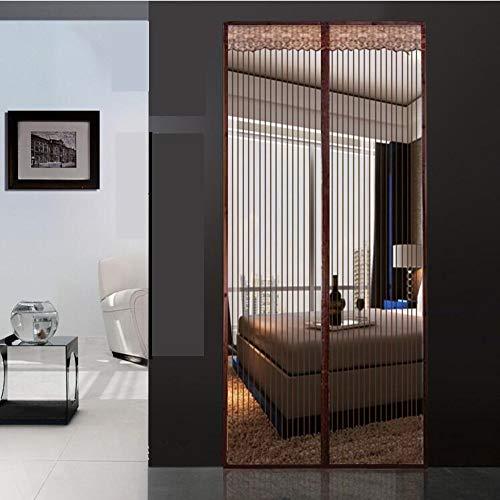 Mute full frame zanzara velcro schermo magnetico porta,per impieghi pesanti mesh camera schermata stripe mesh porta scattano automaticamente la porta dello schermo-marrone 120x240cm(47x94pollici)