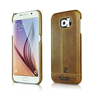 Pierre Cardin Luxury Leather Back Case Cover for Samsung Galaxy S6 - Brown