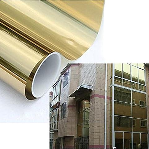 HOHO Silber Tint Fenster Glas Film High Reflektierende Solar Film Privatsphäre Aufkleber für Home, Bau, Gold silver, 80cmx500cm