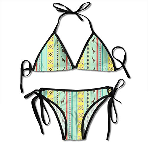Women's Bathing Swimsuit Adjustable Africa Giraffe Sexy Bikini Set 2 Piece Black