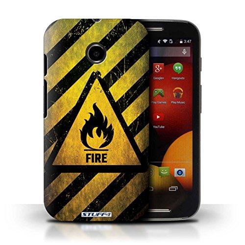 Kobalt® Imprimé Etui / Coque pour Motorola Moto E (2014) / électricité conception / Série Signes de Danger Feu/Inflammable