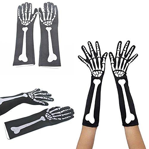 Vin beauty lang Skeleton Schädel Handschuhe Kostüm Cosplay erwachsener Halloween Party Dekor (Pfadfinder Kostüm Halloween)