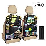 Awroutdoor Awroutdoor Auto Rückenlehnenschutz, 2 Stück Auto Rücksitz Organizer für Kinder, Große Taschen und iPad-/Tablet-Fach, für Autositz mit Durchsichtigem Wasserdichtes