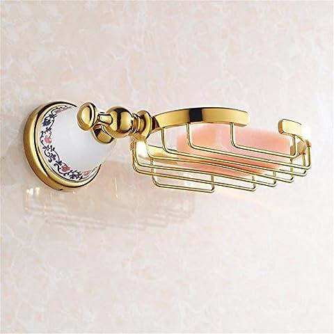 Modylee Lusso dorato lucido bagno sapone cesto titolare solido ottone sapone piatto muro montato bagno moderno XL-3306 , 1
