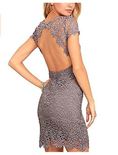 SHUNLIU Damen Spitzenkleid Rückenfrei Minikleid Cocktailkleid mit Spitze Kurzarm Kleid Ballkleid...