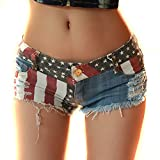 Donne Jeans vita bassa Hot pants elastici pantaloncini Denim ( USA EU XS )