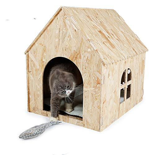 XinC Hundehütte aus Holz Four Seasons Zwinger Geeignet für kleine Haustiere Innen- und Außenkonfiguration Weiche Matratze