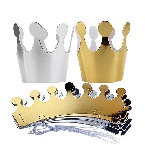 Doublehero 10 Stücke Kinder Erwachsene Geburtstag Hüte Cap Crown Prince Prinzessin Party Dekoration Papier (25*9cm) (Crown Hüte Cap)